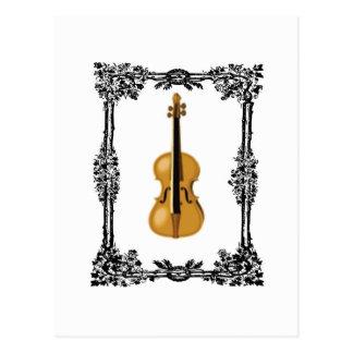 caged violin postcard