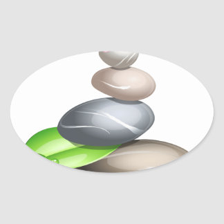 Cailloux colorés sticker ovale