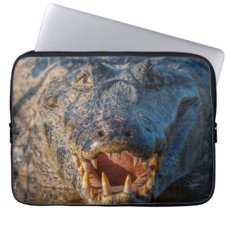 Caiman shows its teeth, Brazil Laptop Sleeve