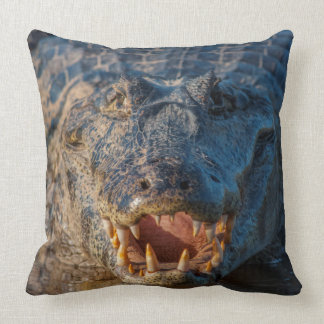 Caiman shows its teeth, Brazil Throw Pillow