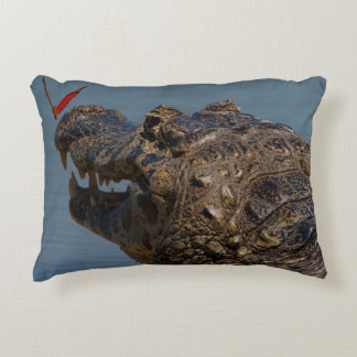 Caiman with a butterfly, Brazil Decorative Pillow
