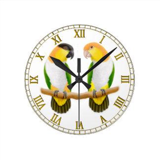 Caique Parrot Love Wall Clock