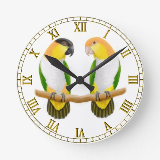 Caique Parrot Love Wall Clock