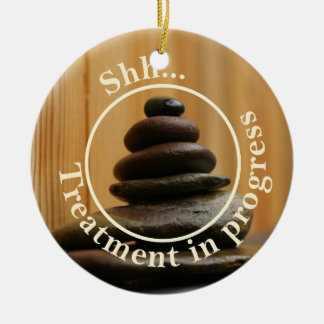 Cairn Meditation Stones Do Not Disturb Ceramic Ornament