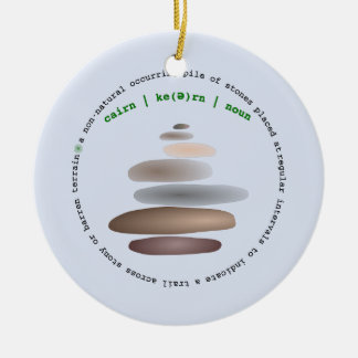 Cairn stacked stone round ceramic ornament
