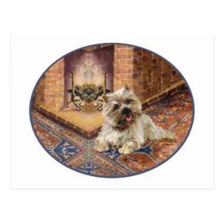 Cairn Terrier by Cozy Fireplace Postcard