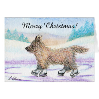 Cairn Terrier dog ice skating Christmas card