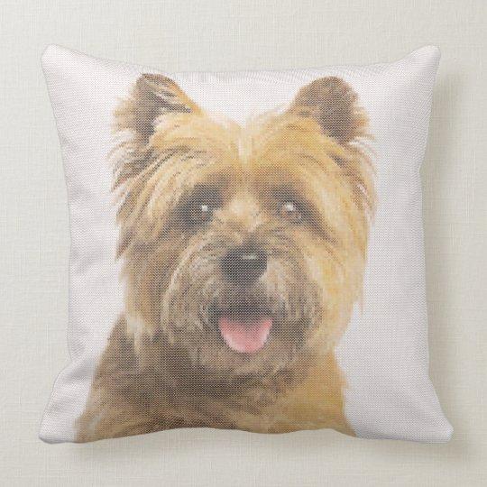 Cairn Terrier Portrait Faux Needlepoint Design Throw Pillow