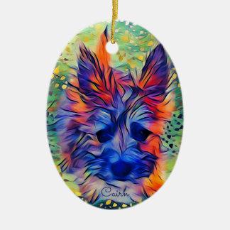Cairn Terrier Puppy Oval Ornament, Bright Multi Ceramic Ornament