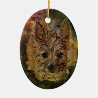 Cairn Terrier Puppy Oval Ornament, Brown Ceramic Ornament