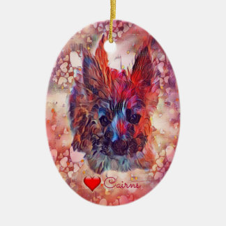 Cairn Terrier Puppy Oval Ornament, Pink Hearts Ceramic Ornament