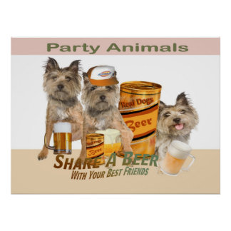 Cairn Terrier Share A Beer Poster