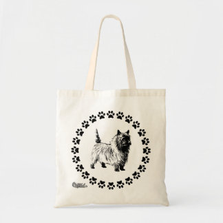 Cairn Terrier with Pawprints Tote Bag