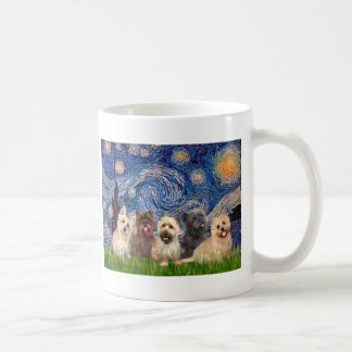 Cairn Terriers (Five) - Starry Night Classic White Coffee Mug