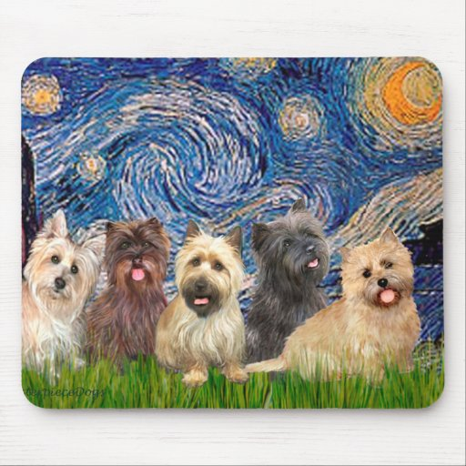 Cairn Terriers (Five) - Starry Night Mouse Pad
