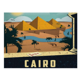 cairo Ancient Egypt Pyramids Travel Vintage retro Postcard