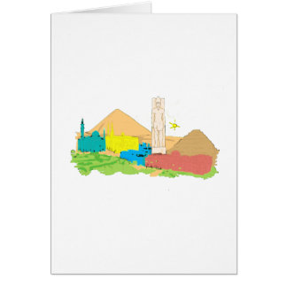 cairo egypt city no txt watercolour pyramid statue card