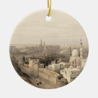 """Cairo looking West, from """"Egypt and Nubia"""", Vol.3 Round Ceramic Ornament"""