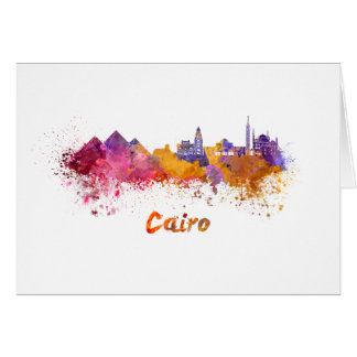 Cairo skyline in watercolor card