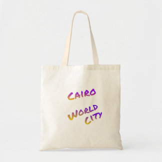 Cairo world city, colorful text art tote bag