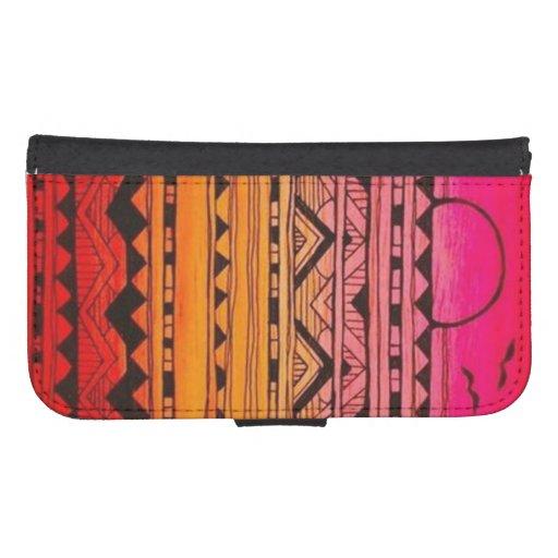 Caisse aztèque orange de portefeuille de coque avec portefeuille pour galaxy s4