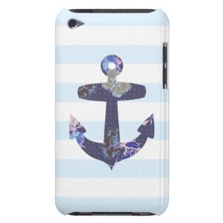 Caisse bleue nautique fleurie d iPod d ancre Coque iPod Case-Mate