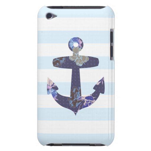 Caisse bleue nautique fleurie d'iPod d'ancre Coque iPod Case-Mate