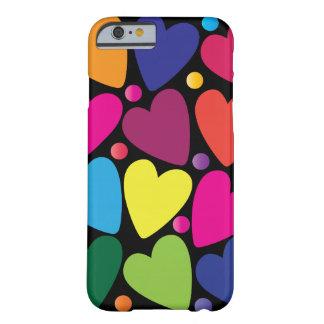 Caisse colorée de téléphone de coeurs coque iPhone 6 barely there