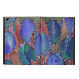 Caisse d'air d'iPad de conception de tulipes bleue