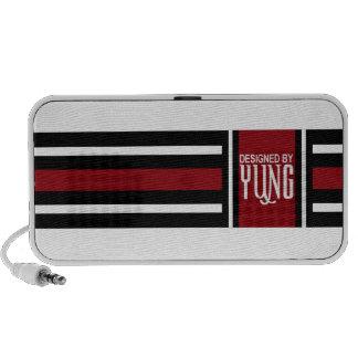 Caisse élégante blanche rouge noire de téléphone d haut-parleur portable