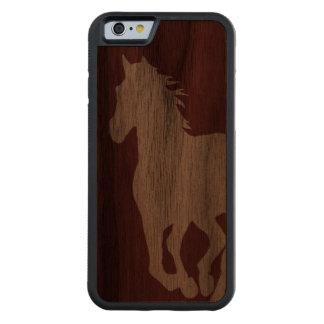 Caisse en bois de silhouette de cheval pour coque iPhone 6 bumper en noyer