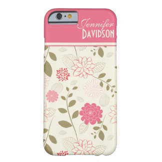 Caisse florale bronzage ene ivoire rose Girly de Coque iPhone 6 Barely There
