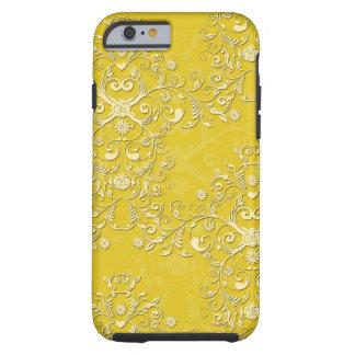Caisse florale jaune Girly de l'iPhone 6 de damass Coque Tough iPhone 6