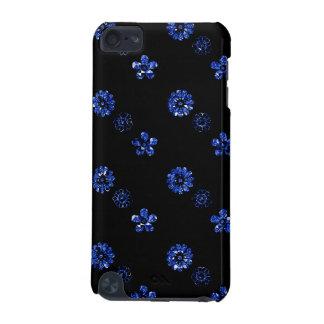 Caisse florale noire et bleue de contact d'iPod d' Coque iPod Touch 5G