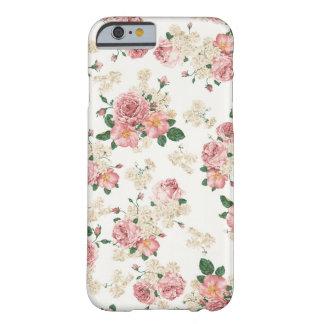 Caisse florale vintage blanche et rose de l'iPhone Coque iPhone 6 Barely There