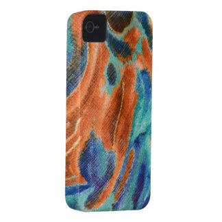 Caisse iPhone4 abstraite de turquoise et d'orange Étui iPhone 4