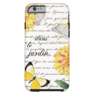 Caisse jaune de jardin de dahlia de papillon coque iPhone 6 tough