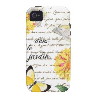Caisse jaune de jardin de dahlia de papillon étui Case-Mate iPhone 4
