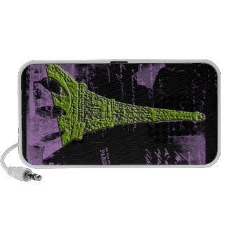 Caisse pourpre et verte de téléphone de PARIS de T Haut-parleur iPod
