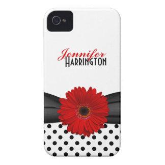 Caisse rouge chic de l iPhone 4 de point de polka