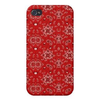 Caisse rouge de point de Bandana Coques iPhone 4/4S