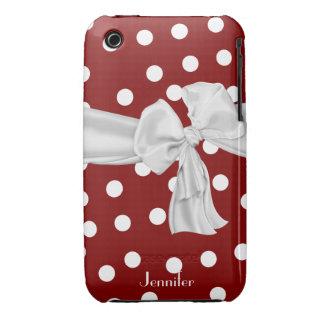 Caisse rouge et blanche de l'iPhone 3 de point de  Coques iPhone 3