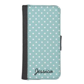 Caisse turquoise de portefeuille de polkadot pour  coques avec portefeuille pour iPhone 5