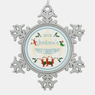 Cajun Baby Boy First Christmas Keepsake Snowflake Pewter Christmas Ornament