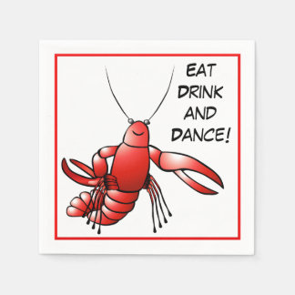 Cajun Boil Party Crawfish Crayfish Eat Drink Dance Paper Napkin