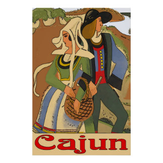 Cajun Couple with Oaks Poster