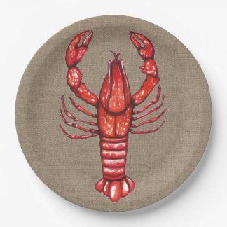 Cajun Crawfish & Faux Burlap Paper Plate