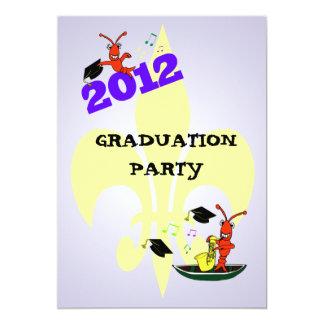 "Cajun Crawfish Fleur de Lis Graduation Party 2012 5"" X 7"" Invitation Card"