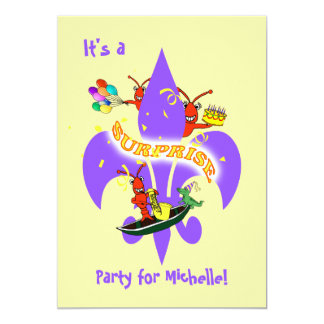 Cajun Crawfish Fleur de Lis Surprise Birthday Card