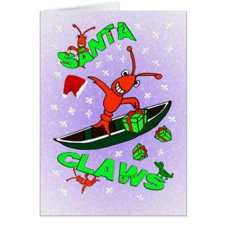 Cajun Crawfish Santa Claws Christmas Card